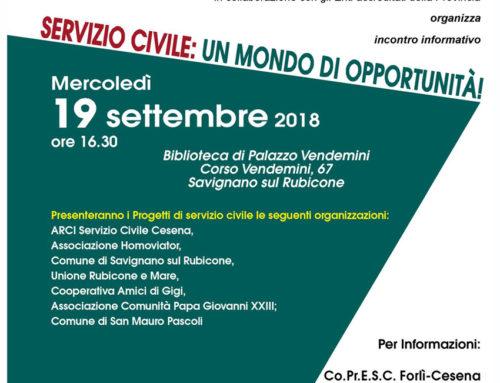 INCONTRO PRESENTAZIONE PROGETTI DI SERVIZIO CIVILE – area del RUBICONE 19 SETTEMBRE 2018
