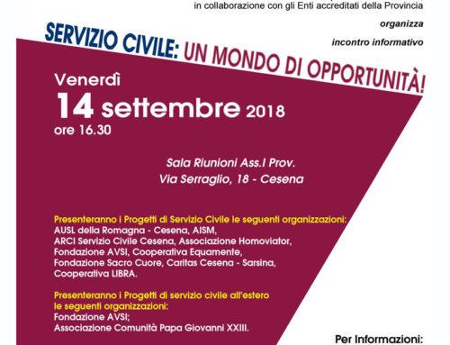 INCONTRO PRESENTAZIONE PROGETTI DI SERVIZIO CIVILE – comprensorio Cesenate 14 SETTEMBRE 2018